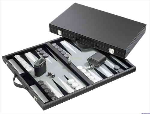 Backgammon Kunstleder grau medium